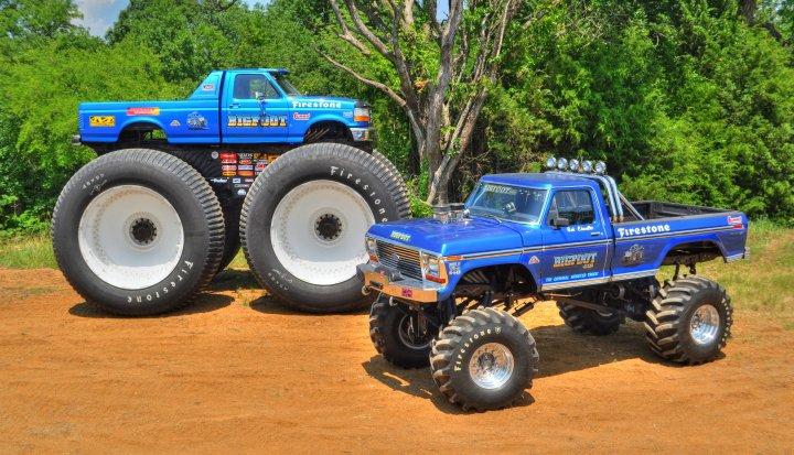 The Original Monster Truck Bigfoot 1 Next To The Tallest