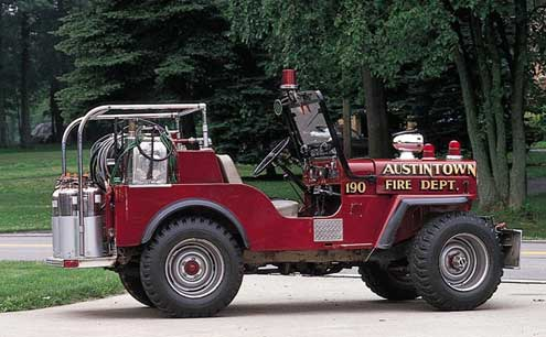 jeep fire truck, fire truck, willys jeep