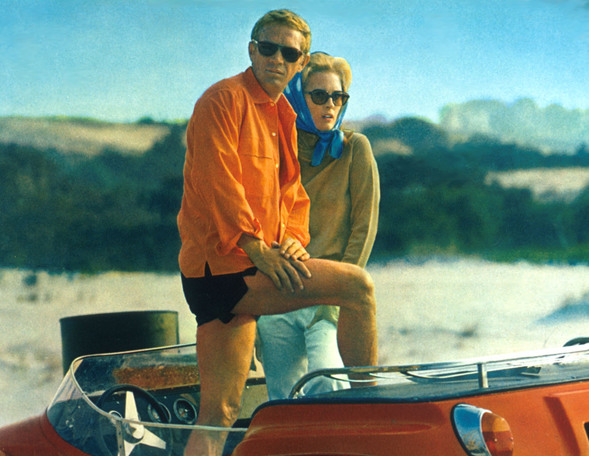 faye and steve pose in dunebuggy in the thomas crown affair Steve McQueen And His Meyers Manx Dune Buggy From The Thomas Crown Affair Movie