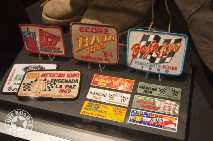 Vintage patches and badges from Baja races.