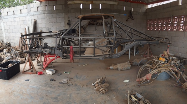 The bare chassis of the 1984 PPI Toyota.