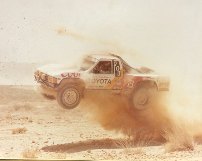 Another race shot of the 1984 001 PPI Toyota